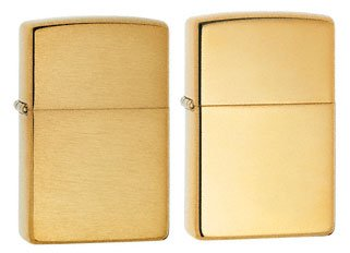 Zippo Lighter Set - Brushed Brass W/o Lettering and High Polish Brass Pack of 2 (Brushed Lettering Brass)