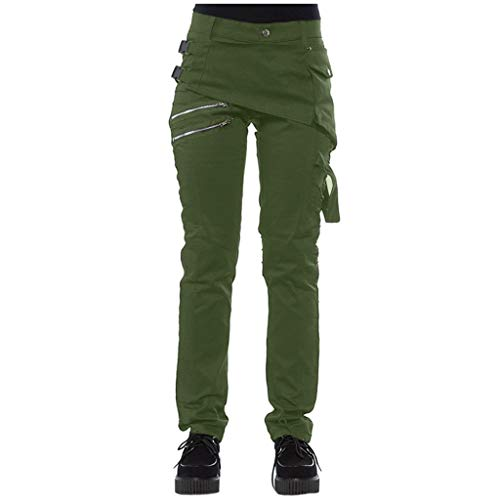 TANLANG ♥Men Personality Solid Color Retro Trousers Outdoor Pengkla Chain Decoration Trousers Long Pants Army Green