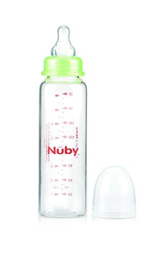 Nuby ID1179 - Biberón de cristal con tetina de silicona de flujo medio, 3+m, 240 ml: Amazon.es: Bebé