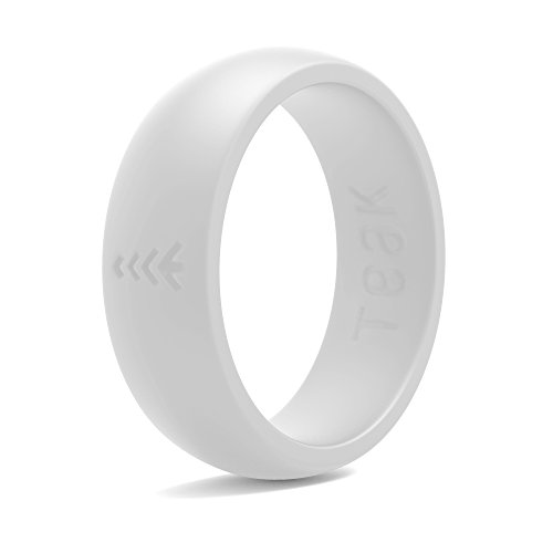 (Silicone Wedding Ring for Women. Rubber Wedding Band for Every Day Use - Yoga, Training, Sports, Military, Work, Travel and Outdoor - White - Size 8 )