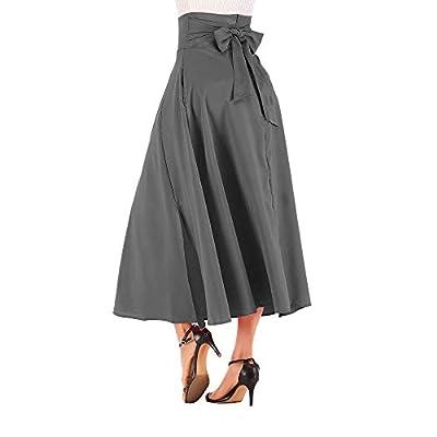 PARVAL Cintura Alta de Las Mujeres Plisado Una línea Falda Larga Corte Frontal Cinturón Maxi Falda Plisado Palazzo Pantalones para Mujer y Maxi Faldas de Cintura Alta Pierna Ancha: Ropa y accesorios