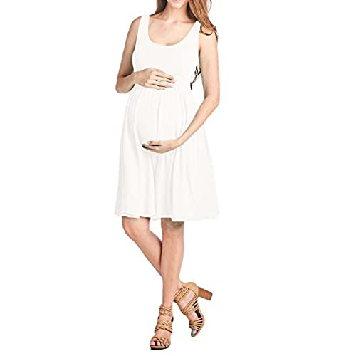 Beachcoco Womens Maternity Knee Length Tank Dress (L, Off White (Slightly See Through))