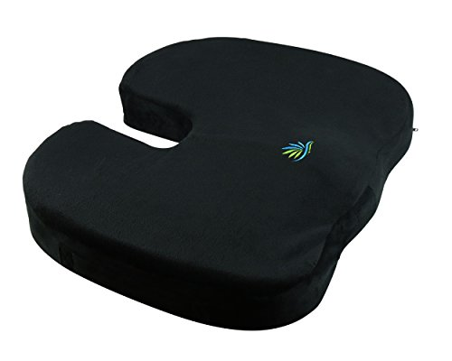 Orthopedic Seat Cushion (Pure Essence Coccyx Orthopedic Cushion 100% Memory Foam Seat Cushion, Back Support, Sciatica and Tailbone Pain Relief)