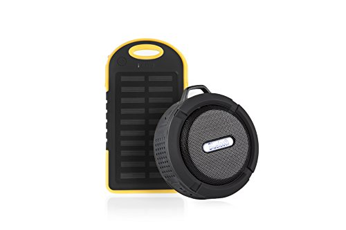 Solar Panel Power Bank Charger and BONUS Mini Bluetooth Shower Speaker (Best Portable Speakers For Backpacking)