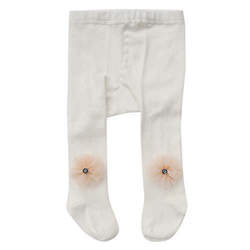 FEITONG Newborn Baby Girl Elastic Striped Flower Panty-hose Leggings Warm Stockings(6-12M,White)