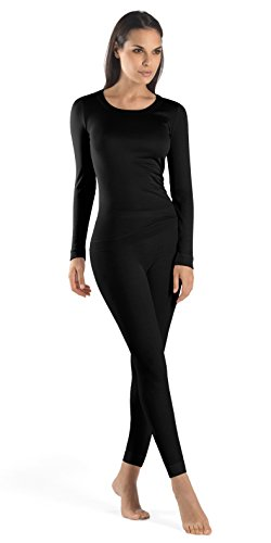 Hanro Women's Silk/Cashmere Long Sleeve Shirt 71655, Black, XX-Small