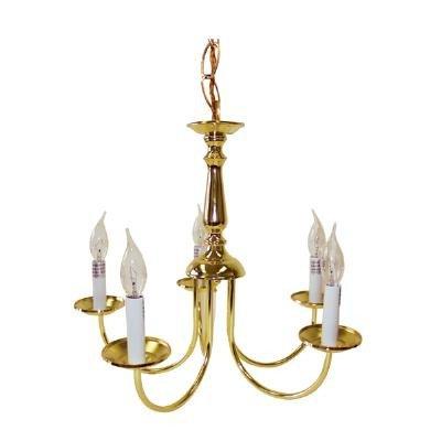 Sunlite CH5BR/P 60w Brass Finish Chandelier Ceiling Fixture
