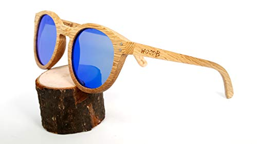 Real Wood Round Sunglasses UV-400 Polarized Lenses Plus Cap in a Gift ()