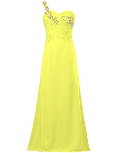 Chiffon Women's Dresses One ANTS Lace for Weddings Bead Shoulder Long Yellow xAwq55dX0