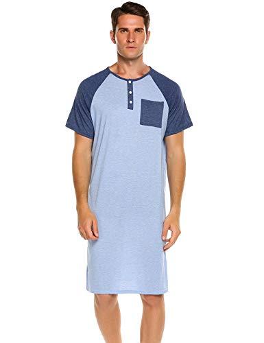Dorani Male Loose Sleeping Dress Scoop Neck Casual Home Wear Tops Hely Cotton Nightshirt (Blue, Medium)