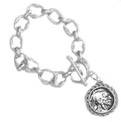 Sterling Silver Buffalo Nickel Toggle Link Rope Coin Bezel Charm Bracelet