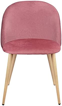 SUOTENG Set of 2 Exquisite Velvet Dining Chair, Kitchen/Bedroom/Lounge Ear Chair with Metal Wood Grain Color Legs, Pink A