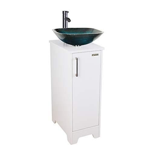 U-Eway 13 inch White Bathroom Vanity and Sink Combo,Blue Glass Vessel Sink - 20 X Saving Mirrors Space 16 Bathroom