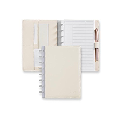 Levenger Circa Pearl White Foldover Durable Leather Notebook - Notebook, Junior (AL14980 JNR NM) Cards White Business Card Discs