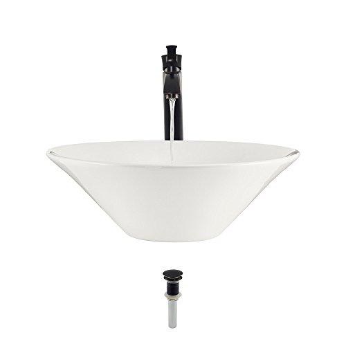 (V220-Bisque Porcelain Vessel Sink Antique Bronze Ensemble with 726 Vessel Faucet (Bundle - 3 Items: Sink, Faucet, and Pop Up)