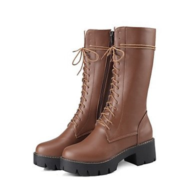 Mid Up US9 Calf botas botas amp;Amp; RTRY mujer cremallera para UK7 Office puntera Otoño botas de Lace CN41 talón Invierno Pu redonda Confort EU40 Zapatos moda Carrera Chunky Novedad xRw4qTxv