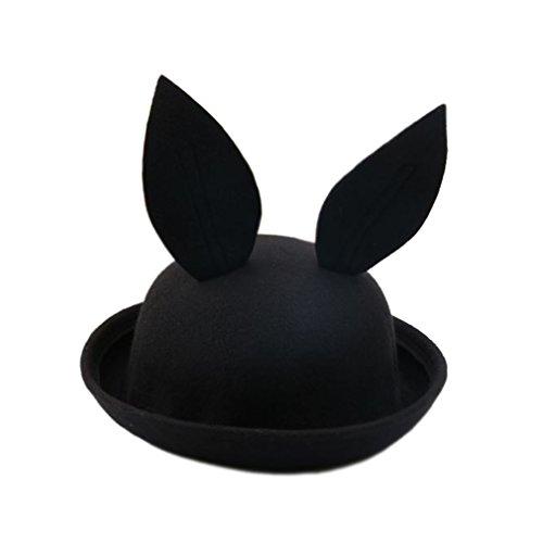 HENCY 2016 New Arrival Rabbit Ear Hat Easter gift Bunny Ears Wool Hat Melons Felt Hat Funny Lovely Sweet for Children in 6 Colors (Black)