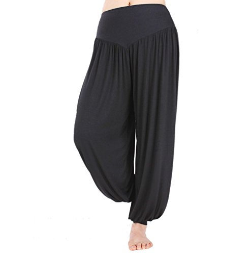 - HOEREV Super Soft Modal Spandex Harem Yoga/ Pilates Pants, Black,Large