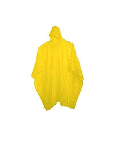 (12 Pack) Adult 10 Mil Reusable Rain Ponchos - Yellow (Cheap Mexican Ponchos)