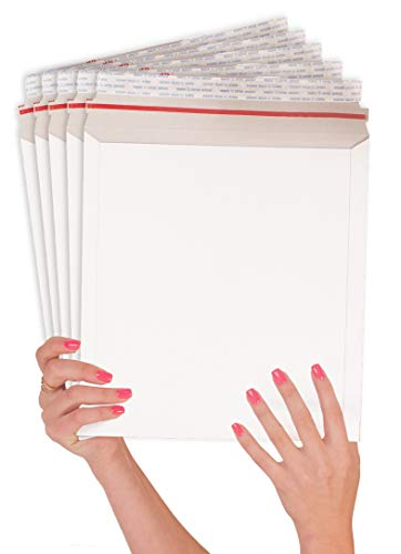 ABC 25 Pack Rigid 11 x 13.5 Paperboard mailers .Stay Flat Chipboard envelopes 11 x 13 1/2. White Photography Mailer. Large Size. No Bend documents, Photo, Prints. Peel and Seal & Self Sealing ()