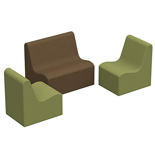 SoftScape Wave Toddler Chair and Sofa Seating Set, Play Soft Supportive Foam Furniture for Kids for Bedrooms, Playrooms, Classrooms - Earthtone (3-Piece)