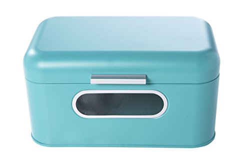 Retro Bin (Bread Box for Kitchen Counter - Stainless Steel Bread Bin Storage Container for Loaves, Pastries, and More - Retro Design, Teal, 12 x 7.25 x 6.25 Inches)