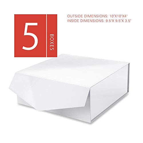 MALICPLUS Luxury Gift Boxes with Lids, Square 10x10x4 Inches, Bridesmaids Proposal Boxes, Sturdy Boxes Storage Boxes Collapsible Magnetic Closure Gift Boxes (Embossing Glossy White, 5 Boxes)