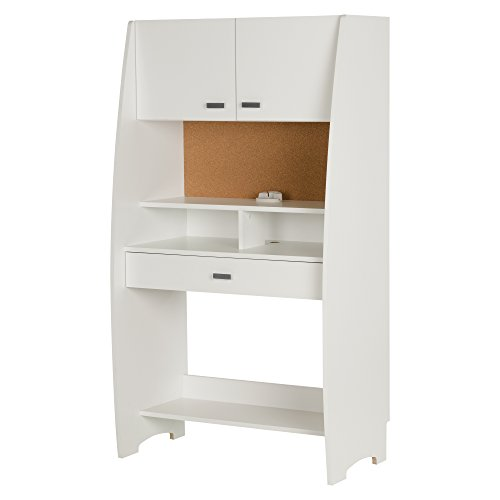 South Shore Narrow and Tall Computer Desk with Hutch and Lots of Storage, Pure White