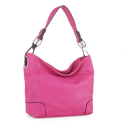 - MKF Hobo bag for Women - Satchel-Tote shoulder Bag - Vegan Leather Womens Purse Top Handle Pocketbook Handbag Fuschia