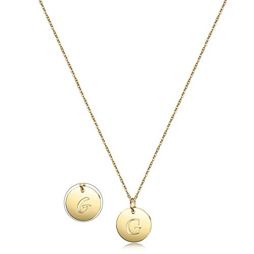 JINBAOYING Initial Necklace Gold Plated Round Disc Double Side Engraved Adjustable Personalized Letter Pendant Enhancers