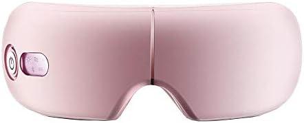電気アイマッサージャースチームアイマスク視力改善額アイケアマッサージヘルスケアツールBluetooth音楽アイリラックス、ピンク