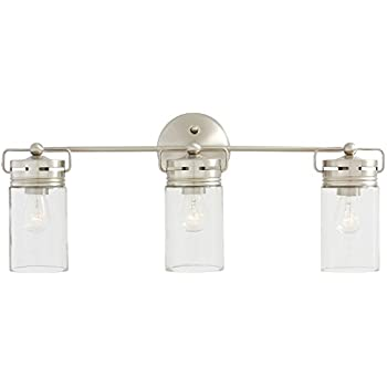 Mason Jar Lighting Light Brushed Nickel Vanity Light With Clear - Nautical bathroom vanity lights