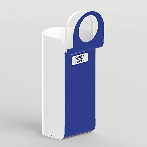 Contenitore per raccolta differenziata con coperchio apertura basculante e anello reggisacco - 30 x 30 x 70h cm - Metallo Laccato Blu - CARTA/PAPER EcoWorldHotel