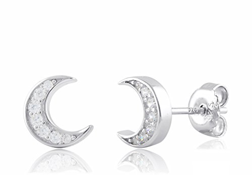 Sterling Silver Cz Crescent Moon Stud ()