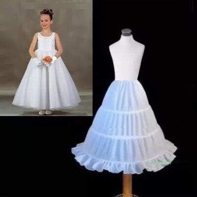 Rmeet Girls Petticoat,Half Slip Petticoat 3 Hoops Lace Trim Flower Underskirt Elastic Waist Drawstring Girl Petticoat Crinoline White Poloster 65CM