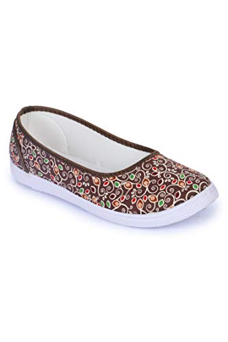 Gliders By Liberty Floral 28 Brown Ladies Casual Ballerina