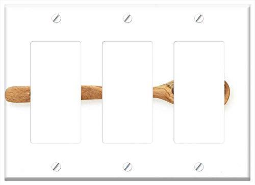 Switch Plate Triple Rocker/GFCI - Spoon Coffe Wood Drink Brown Black Wooden Food
