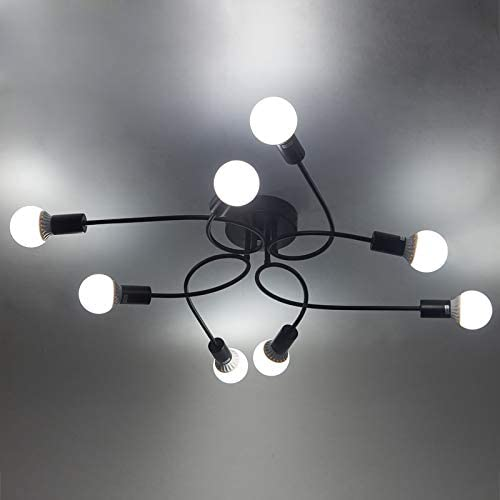 Chic Modern Designed Semi Flush Mounted Ceiling Light – LITFAD 32 Edison Bulb Style Chandelier Barn Metal Wrought Iron Hanging Ceiling Fixture with 8 Lights in Black