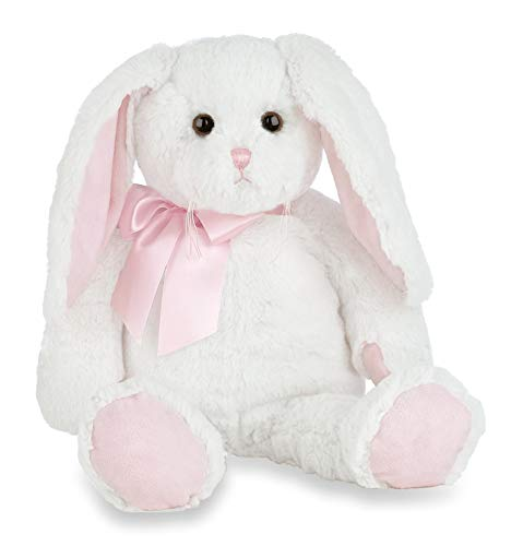 Bearington Loppy Longears White and Pink Plush Stuffed Animal Bunny Rabbit, 16 inches