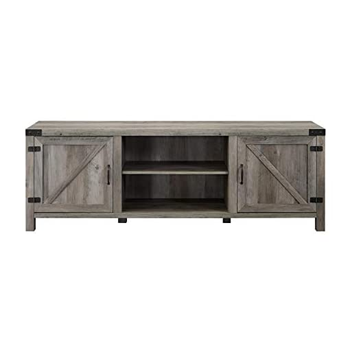Farmhouse Living Room Furniture Pemberly Row 70″ Farmhouse Barn Door Rustic Wood TV Stand Console with Storage in Rustic Gray Wash farmhouse tv stands