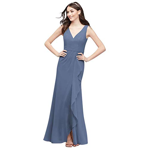 V-Neck Tank Chiffon Cascade Bridesmaid Dress Style F20012, Steel Blue, 20