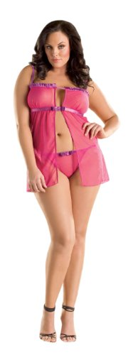 Womens Sexy Lingerie Nightwear Dotted Mesh Flyaway Babydoll With Thong Hot Pink - Size (6-12) -
