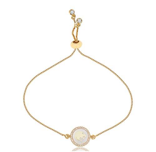 Zodiac Charm Gold Leo - CILILI Horoscope Zodiac 12 Constellation Shell Rhinestones Charm Snake Chain Bracelet for Girls Women (Leo)