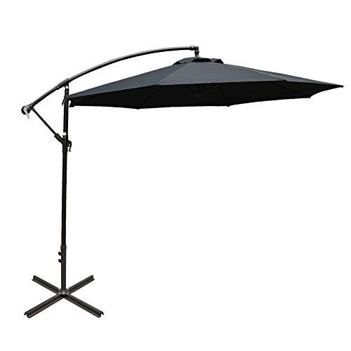 Sundale Outdoor 10FT Offset Umbrella Cantilever Umbrella Hanging Patio Umbrella with Crank and Cross Bar Set, Steel Ribs, Polyester Canopy Shade for Deck, Garden, Backyard, Black