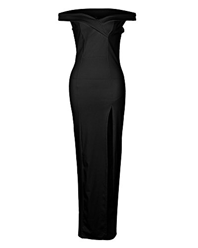 Alta Minetom Mangas De Fiesta Dress Sin Bodas Maxi Cintura Cuello Tirantes En Negro Novia Noche Mujer Elegante Cóctel Largos Vestidos Dulce V Sin YnrqY8O