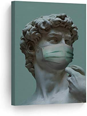 Smile Art Design Michelangelo's Masterpiece Statue of David Face Mask Pandemic Inspired Funny Canvas Wall Art Print Paint Living Room Social Distancing Art Home Decor Ready to Hang Made