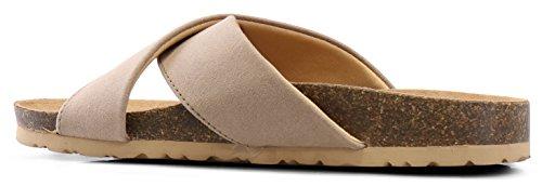 Women Taupe LUSTHAVE Flat Summer Slide by Flop Comfort Flip On Slip Sandals On Light OOprRnq