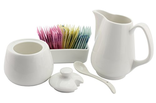 - Sugar and Creamer Set - 4-Piece Set w/Cream Pitcher, Sugar Bowl, Spoon & Sweetener Holder, White Ceramic Tea/Coffee Set