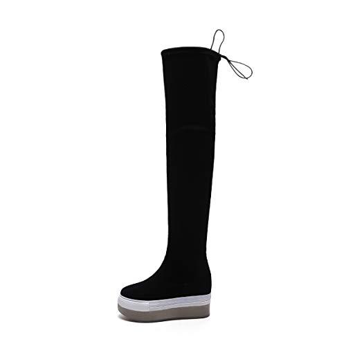 TSNMNB Otoño e Invierno versión Coreana de la Plataforma de Terciopelo de Cuero con Suela Gruesa Botas Sobre la Rodilla Botas Altas Femeninas piernas Delgadas cuñas con Botas elásticas, 37, Negro