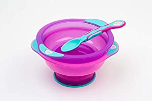 with Lid and Spoon Pink... Vital Baby Unbelievabowl Travel Suction Bowl 2pk